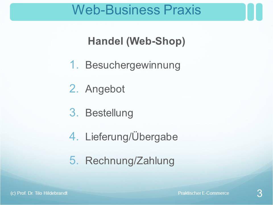 Web-Business Praxis Handel (Web-Shop) 1. Besuchergewinnung 2. Angebot 3. Bestellung 4. Lieferung/Übergabe 5. Rechnung/Zahlung Praktischer E-Commerce(c