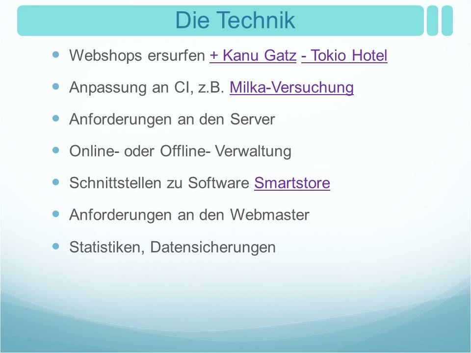 Die Technik Webshops ersurfen + Kanu Gatz - Tokio Hotel+ Kanu Gatz- Tokio Hotel Anpassung an CI, z.B. Milka-VersuchungMilka-Versuchung Anforderungen a