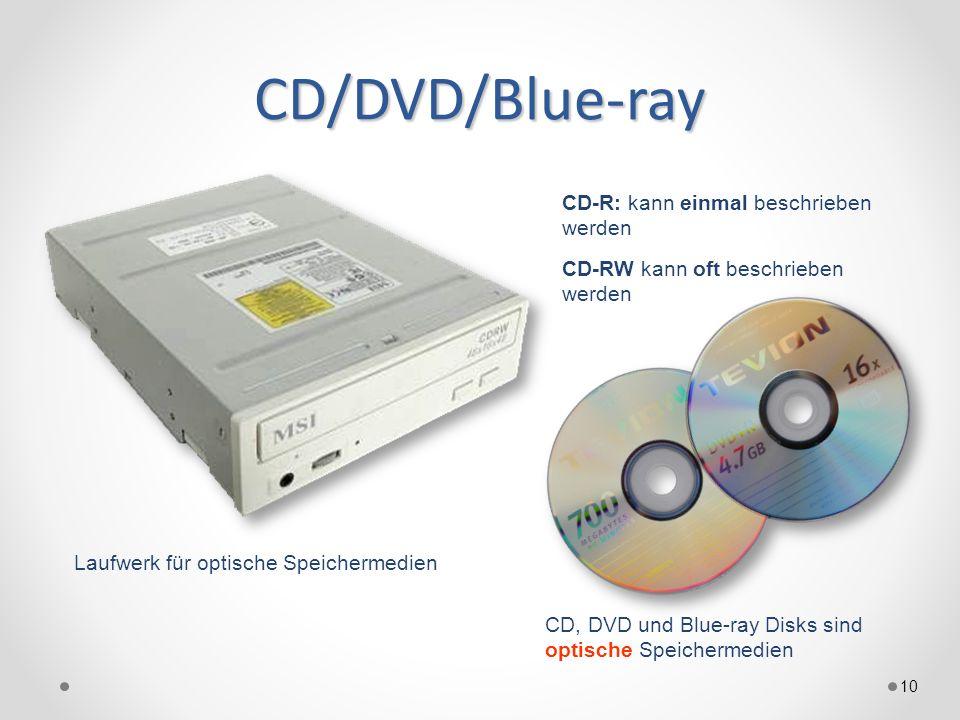 CD/DVD/Blue-ray 10 CD, DVD und Blue-ray Disks sind optische Speichermedien CD-R: kann einmal beschrieben werden CD-RW kann oft beschrieben werden Laufwerk für optische Speichermedien