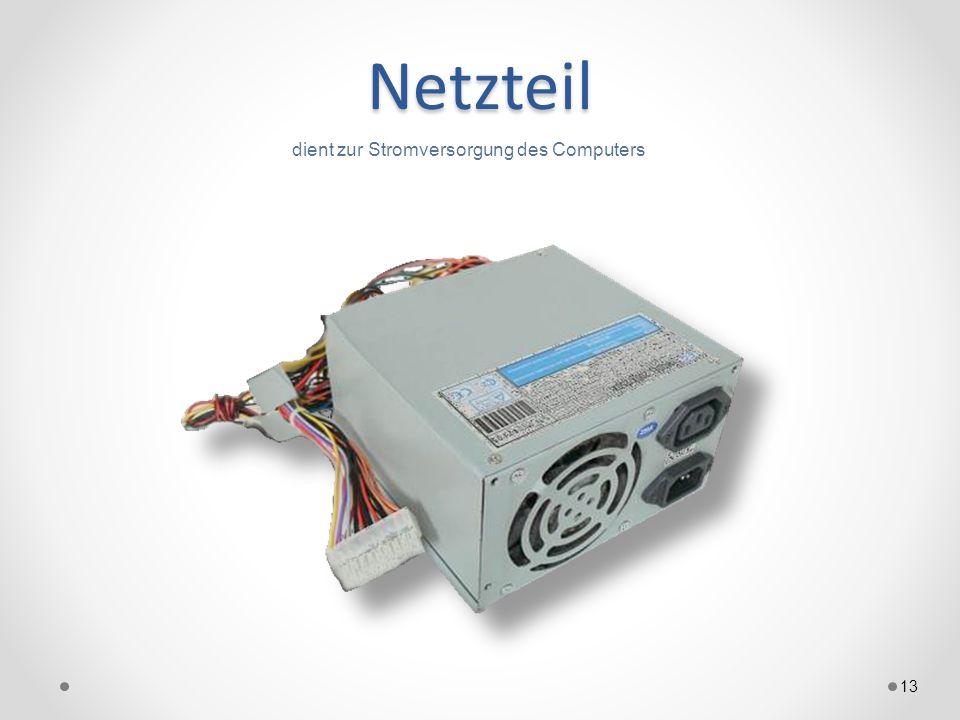 Netzteil 13 dient zur Stromversorgung des Computers
