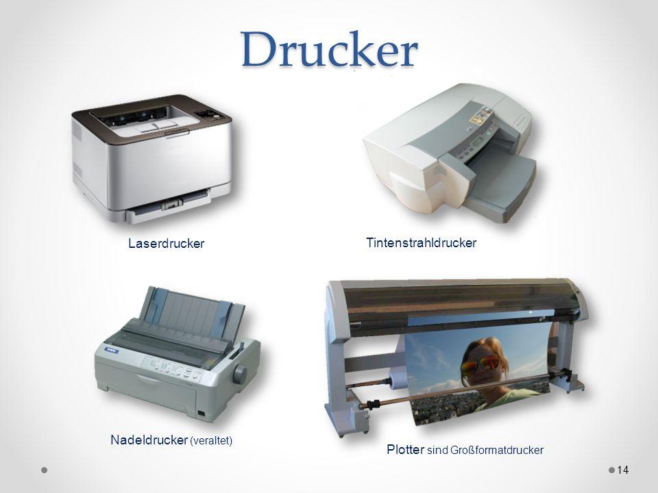 Drucker 14 Nadeldrucker (veraltet) Plotter sind Großformatdrucker Laserdrucker Tintenstrahldrucker