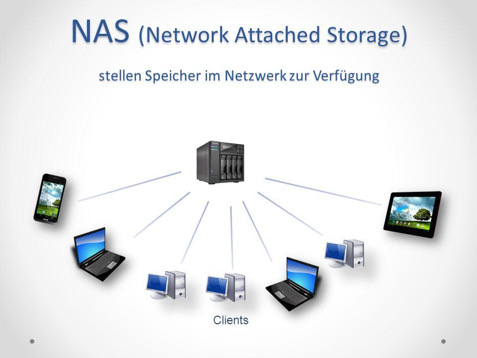 NAS (Network Attached Storage) stellen Speicher im Netzwerk zur Verfügung Clients