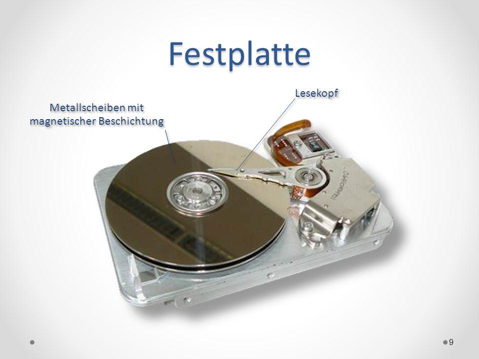 Festplatte 9 Metallscheiben mit magnetischer Beschichtung Lesekopf
