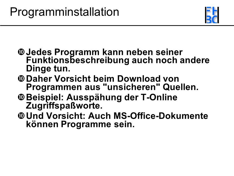 Programminstallation Jedes Programm kann neben seiner Funktionsbeschreibung auch noch andere Dinge tun.