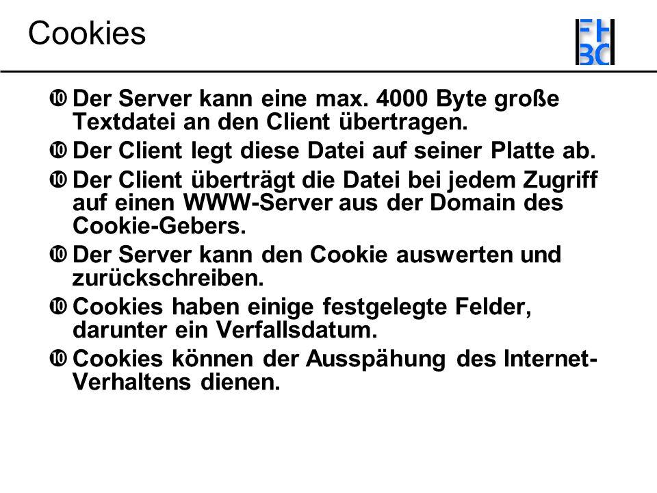 Cookies Der Server kann eine max. 4000 Byte große Textdatei an den Client übertragen.