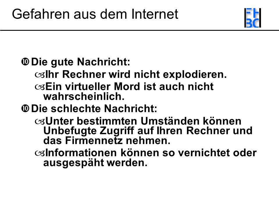Gefahren aus dem Internet Die gute Nachricht: Ihr Rechner wird nicht explodieren.