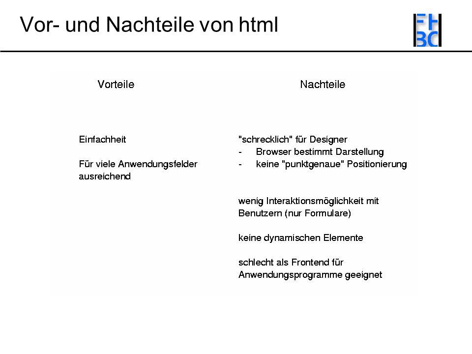 Vor- und Nachteile von html
