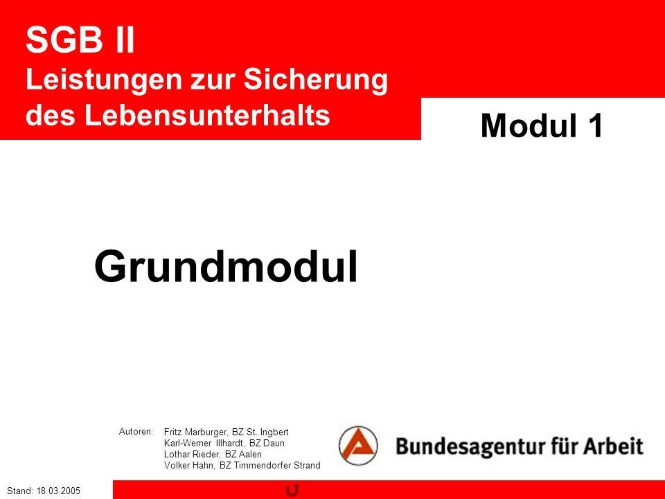Stand: 18.03.2005 SGB II Leistungen zur Sicherung des Lebensunterhalts Modul 1 Fritz Marburger, BZ St. Ingbert Karl-Werner Illhardt, BZ Daun Lothar Ri