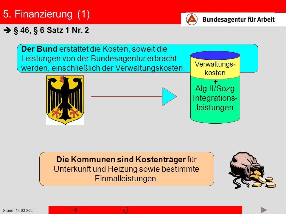 Stand: 18.03.2005 Der Bund erstattet die Kosten, soweit die Leistungen von der Bundesagentur erbracht werden, einschließlich der Verwaltungskosten. §