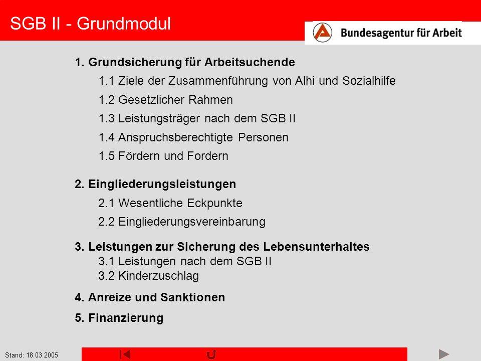 Stand: 18.03.2005 SGB II - Grundmodul 1. Grundsicherung für Arbeitsuchende 1.1 Ziele der Zusammenführung von Alhi und Sozialhilfe 1.2 Gesetzlicher Rah