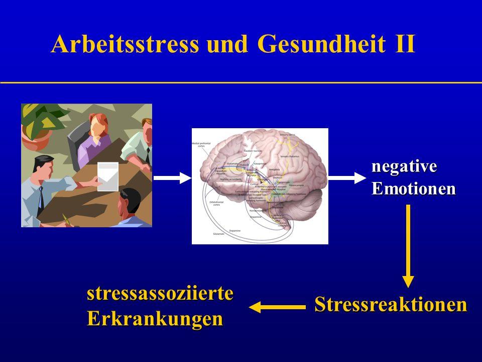 Arbeitsstress und Gesundheit II negative Emotionen Stressreaktionen stressassoziierte Erkrankungen