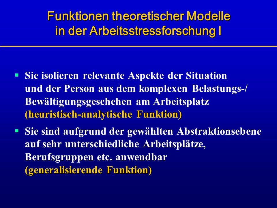 Funktionen theoretischer Modelle in der Arbeitsstressforschung I (heuristisch-analytische Funktion) Sie isolieren relevante Aspekte der Situation und