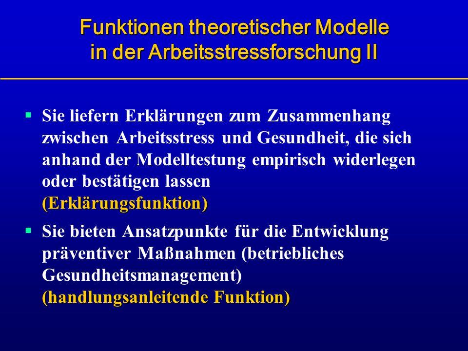 Funktionen theoretischer Modelle in der Arbeitsstressforschung II (Erklärungsfunktion) Sie liefern Erklärungen zum Zusammenhang zwischen Arbeitsstress