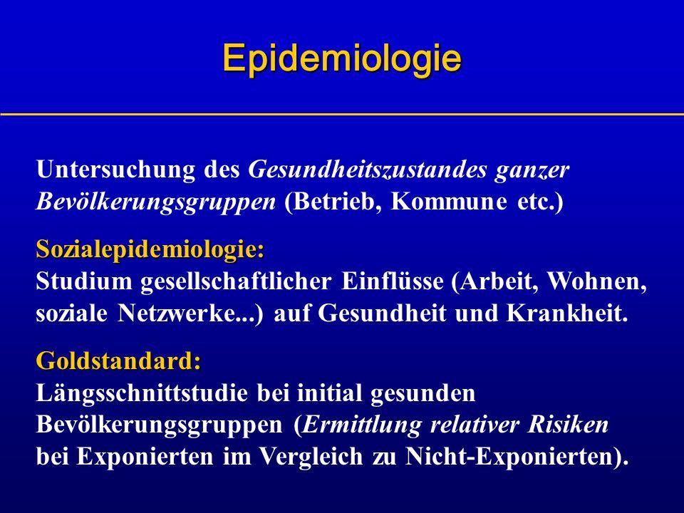 Untersuchung des Gesundheitszustandes ganzer Bevölkerungsgruppen (Betrieb, Kommune etc.) Sozialepidemiologie: Sozialepidemiologie: Studium gesellschaf