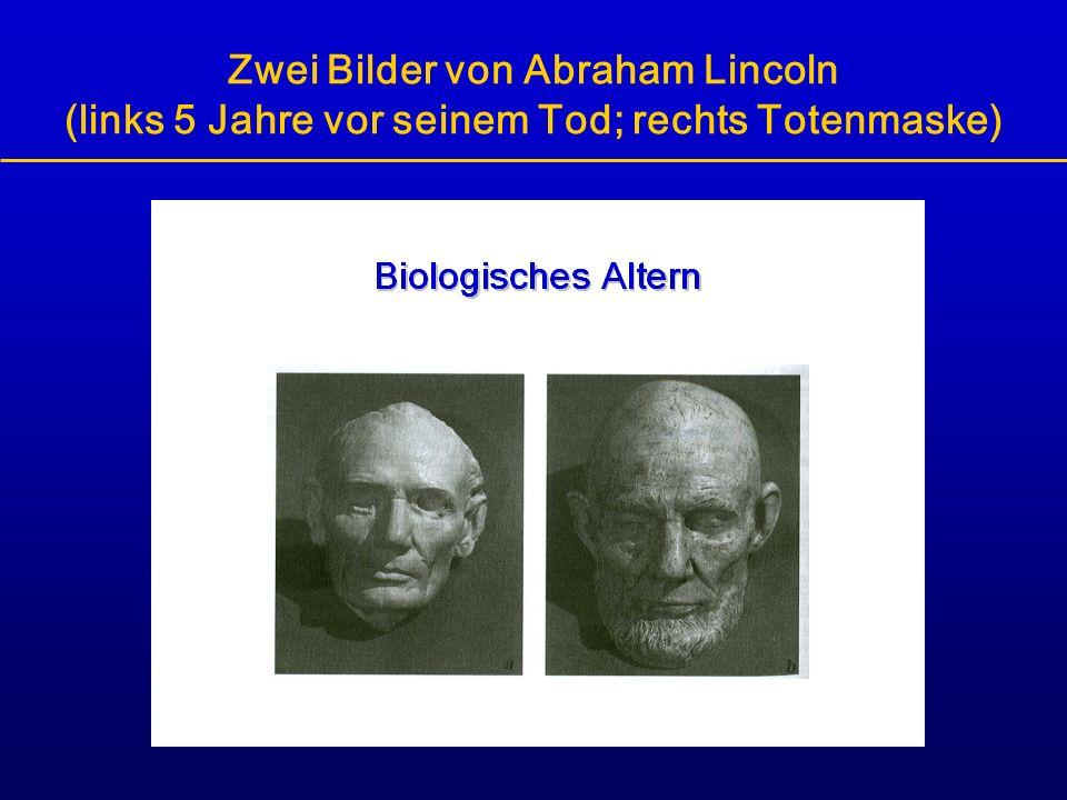 Zwei Bilder von Abraham Lincoln (links 5 Jahre vor seinem Tod; rechts Totenmaske)