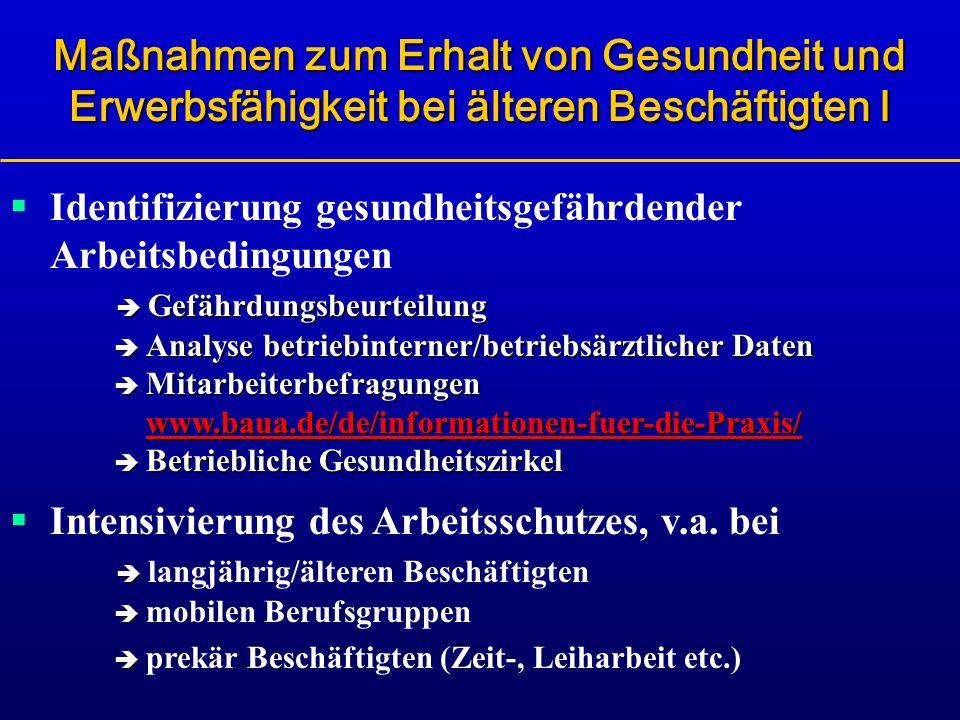 Gefährdungsbeurteilung Analyse betriebinterner/betriebsärztlicher Daten Mitarbeiterbefragungen www.baua.de/de/informationen-fuer-die-Praxis/ Betriebli