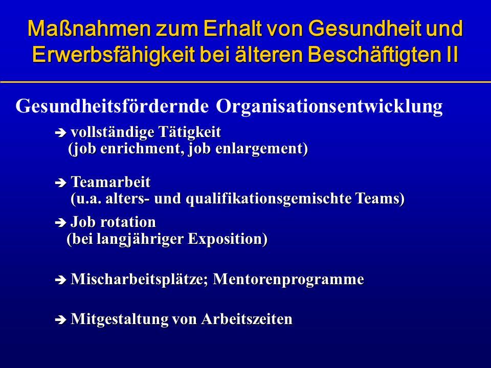 Gesundheitsfördernde Organisationsentwicklung vollständige Tätigkeit (job enrichment, job enlargement) Teamarbeit (u.a. alters- und qualifikationsgemi