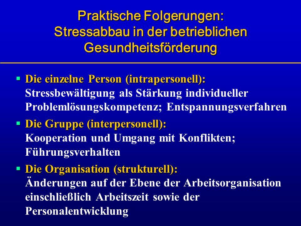 Praktische Folgerungen: Stressabbau in der betrieblichen Gesundheitsförderung Die einzelne Person (intrapersonell): Die einzelne Person (intrapersonel