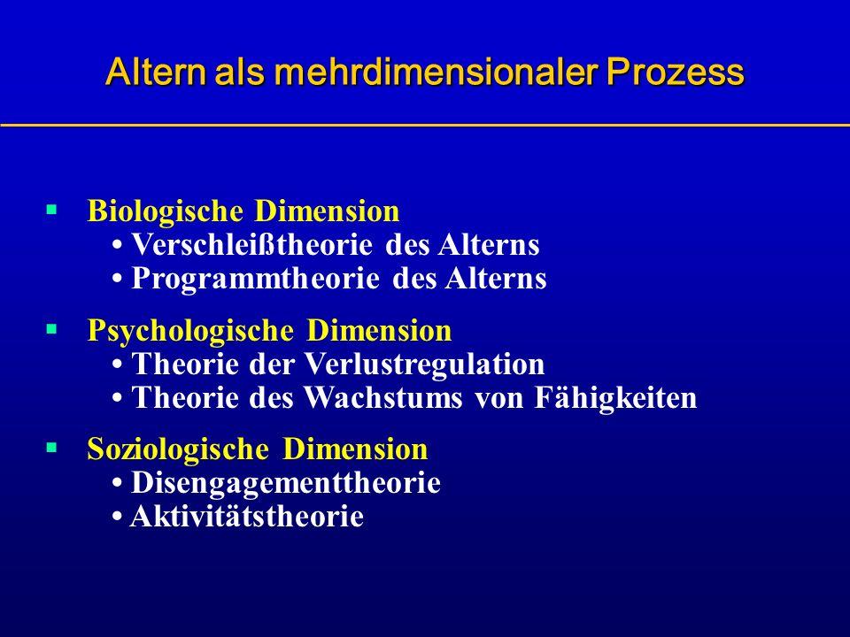 Biologische Dimension Verschleißtheorie des Alterns Programmtheorie des Alterns Psychologische Dimension Theorie der Verlustregulation Theorie des Wac