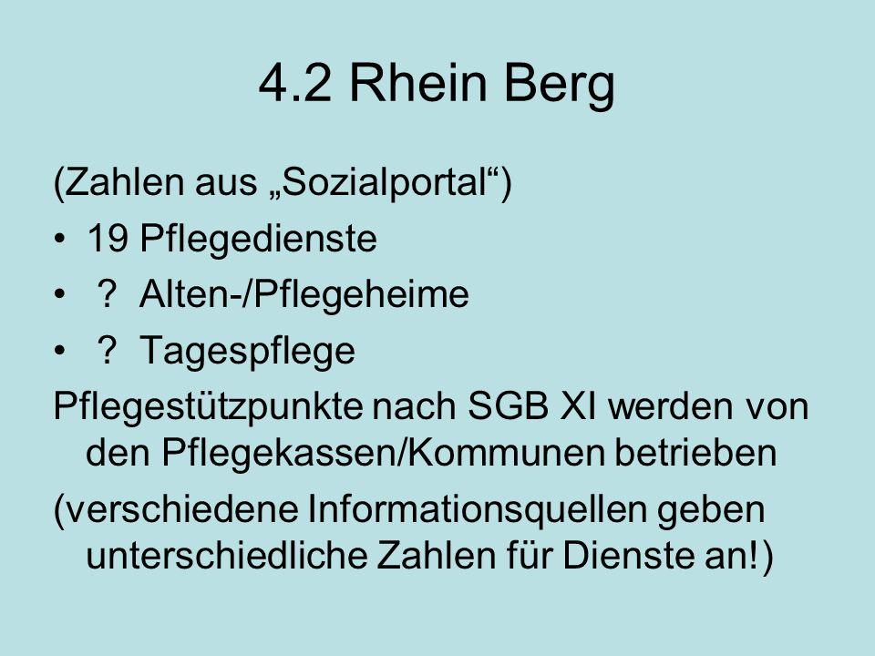 4.2 Rhein Berg (Zahlen aus Sozialportal) 19 Pflegedienste .