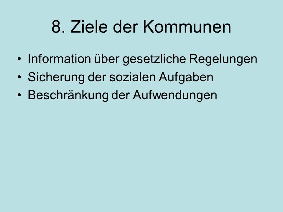 8. Ziele der Kommunen Information über gesetzliche Regelungen Sicherung der sozialen Aufgaben Beschränkung der Aufwendungen