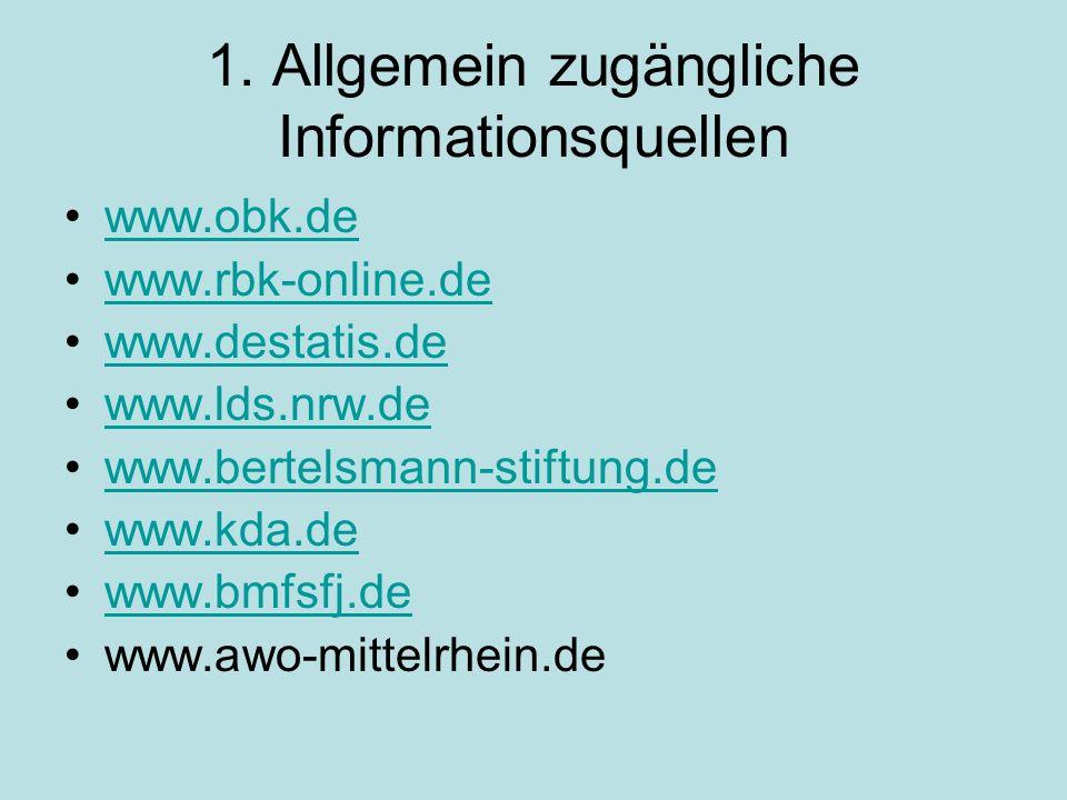 1. Allgemein zugängliche Informationsquellen www.obk.de www.rbk-online.de www.destatis.de www.lds.nrw.de www.bertelsmann-stiftung.de www.kda.de www.bm