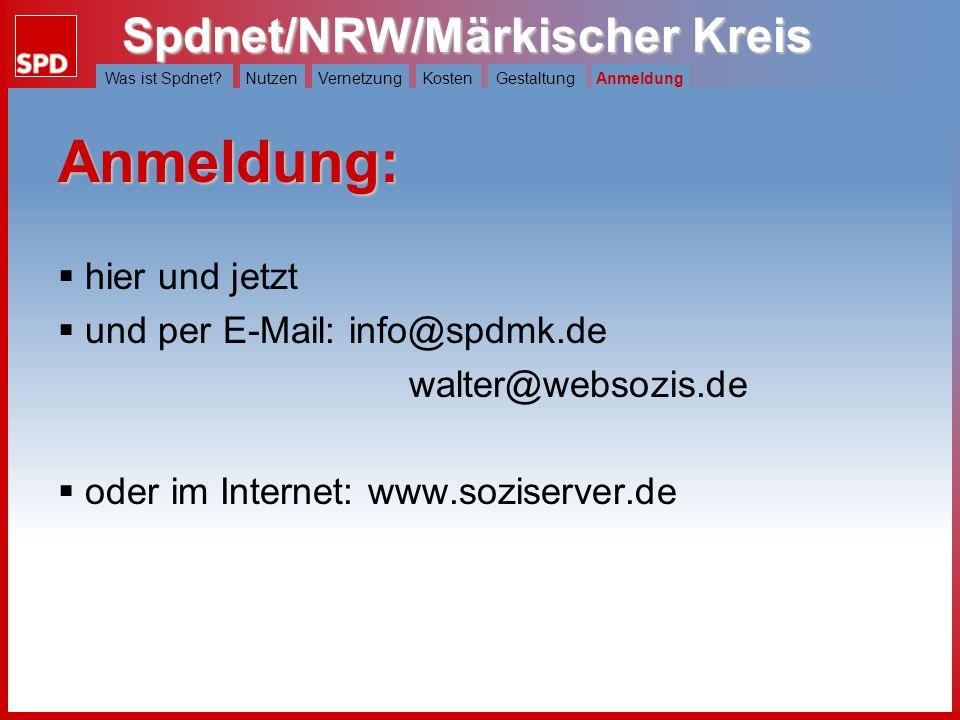 Spdnet/NRW/Märkischer Kreis Was ist Spdnet?NutzenVernetzungKostenGestaltungAnmeldung Wie soll unsere Seite aussehen? Gestaltung Aus einer Vielzahl von