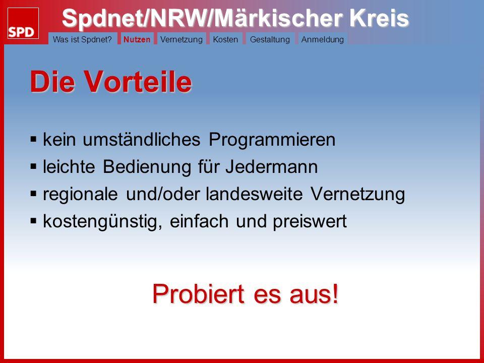 Spdnet/NRW/Märkischer Kreis Was ist Spdnet?NutzenVernetzungKostenGestaltungAnmeldung Was kann Spdnet/NRW? Nachrichten und Pressemitteilungen veröffent