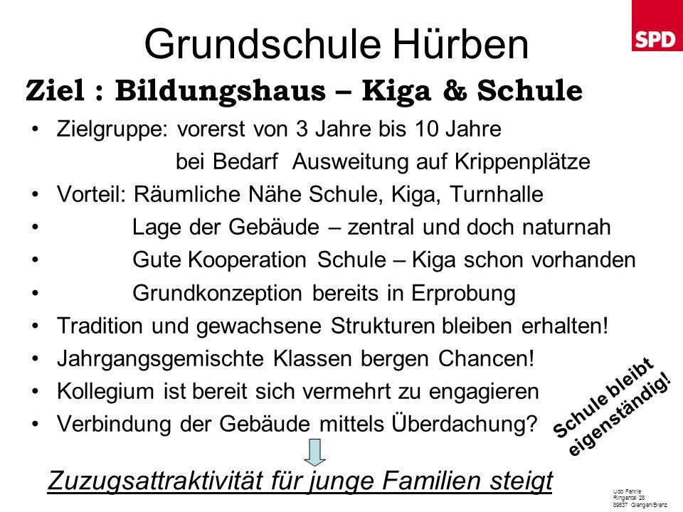 Grundschule Hürben Zielgruppe: vorerst von 3 Jahre bis 10 Jahre bei Bedarf Ausweitung auf Krippenplätze Vorteil: Räumliche Nähe Schule, Kiga, Turnhall