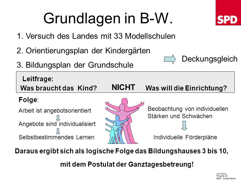 Grundlagen in B-W. Udo Fehrle Ringental 28 89537 Giengen/Brenz 1.Versuch des Landes mit 33 Modellschulen 2.Orientierungsplan der Kindergärten 3.Bildun