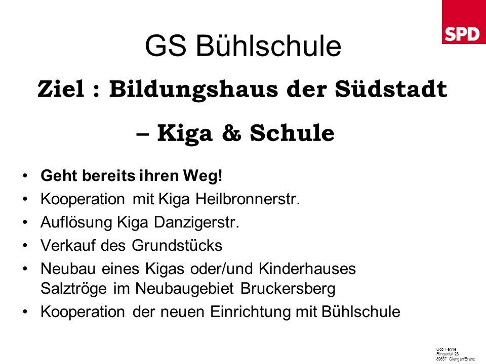 GS Bühlschule Geht bereits ihren Weg! Kooperation mit Kiga Heilbronnerstr. Auflösung Kiga Danzigerstr. Verkauf des Grundstücks Neubau eines Kigas oder