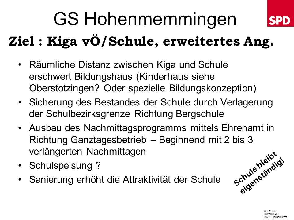 GS Hohenmemmingen Räumliche Distanz zwischen Kiga und Schule erschwert Bildungshaus (Kinderhaus siehe Oberstotzingen? Oder spezielle Bildungskonzeptio