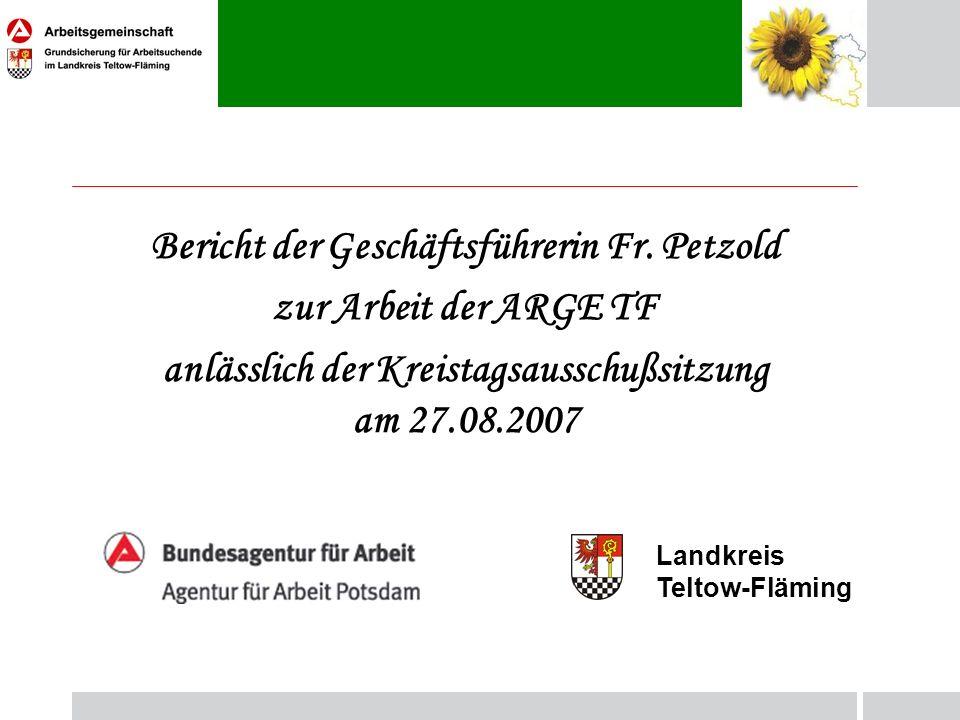 Bericht der Geschäftsführerin Fr. Petzold zur Arbeit der ARGE TF anlässlich der Kreistagsausschußsitzung am 27.08.2007 Landkreis Teltow-Fläming