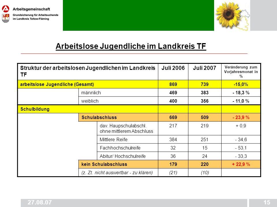 27.08.0715 Arbeitslose Jugendliche im Landkreis TF Struktur der arbeitslosen Jugendlichen im Landkreis TF Juli 2006Juli 2007 Veränderung zum Vorjahres