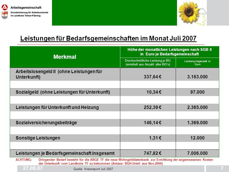 27.08.077 Leistungen für Bedarfsgemeinschaften im Monat Juli 2007 Merkmal Höhe der monatlichen Leistungen nach SGB II in Euro je Bedarfsgemeinschaft D