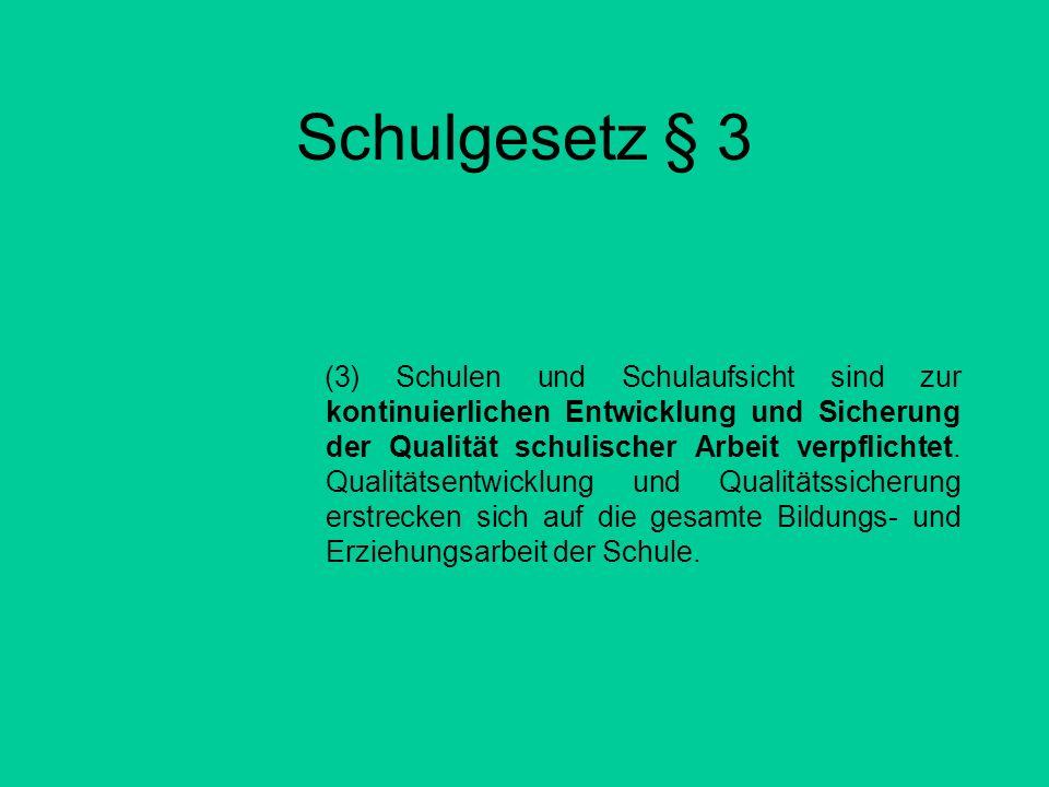 Schulgesetz § 3 (3) Schulen und Schulaufsicht sind zur kontinuierlichen Entwicklung und Sicherung der Qualität schulischer Arbeit verpflichtet. Qualit