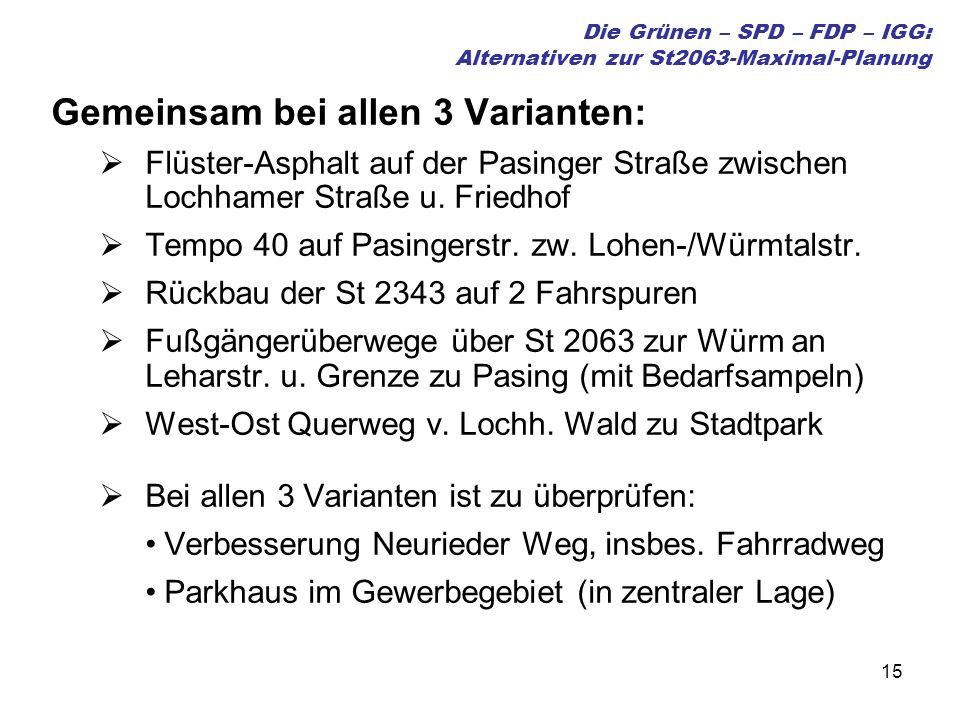 15 Die Grünen – SPD – FDP – IGG: Alternativen zur St2063-Maximal-Planung Gemeinsam bei allen 3 Varianten: Flüster-Asphalt auf der Pasinger Straße zwischen Lochhamer Straße u.