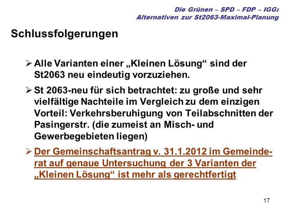 17 Die Grünen – SPD – FDP – IGG: Alternativen zur St2063-Maximal-Planung Schlussfolgerungen Alle Varianten einer Kleinen Lösung sind der St2063 neu eindeutig vorzuziehen.