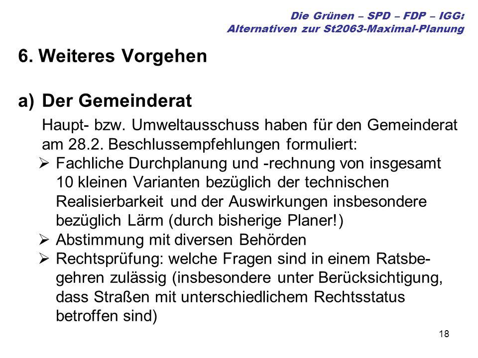 18 Die Grünen – SPD – FDP – IGG: Alternativen zur St2063-Maximal-Planung 6. Weiteres Vorgehen a)Der Gemeinderat Haupt- bzw. Umweltausschuss haben für