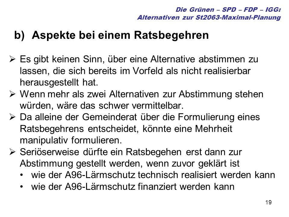 19 Die Grünen – SPD – FDP – IGG: Alternativen zur St2063-Maximal-Planung b)Aspekte bei einem Ratsbegehren Es gibt keinen Sinn, über eine Alternative abstimmen zu lassen, die sich bereits im Vorfeld als nicht realisierbar herausgestellt hat.
