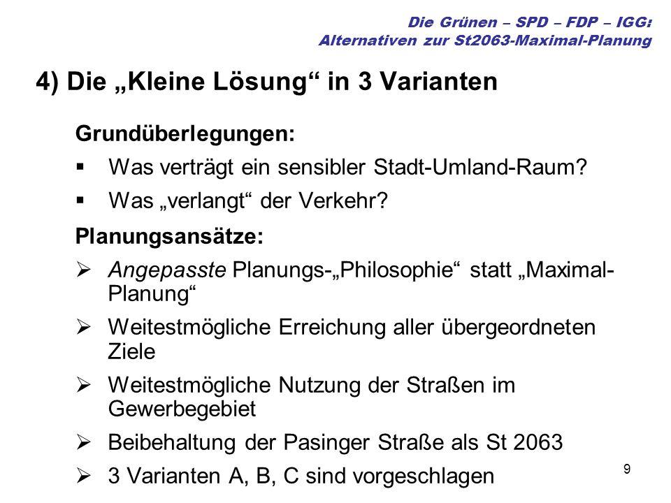 9 Die Grünen – SPD – FDP – IGG: Alternativen zur St2063-Maximal-Planung 4) Die Kleine Lösung in 3 Varianten Grundüberlegungen: Was verträgt ein sensibler Stadt-Umland-Raum.