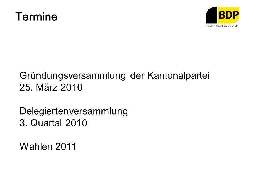 Termine Gründungsversammlung der Kantonalpartei 25. März 2010 Delegiertenversammlung 3. Quartal 2010 Wahlen 2011