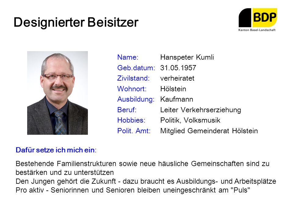 Designierter Beisitzer Name:Hanspeter Kumli Geb.datum:31.05.1957 Zivilstand:verheiratet Wohnort:Hölstein Ausbildung:Kaufmann Beruf:Leiter Verkehrserzi