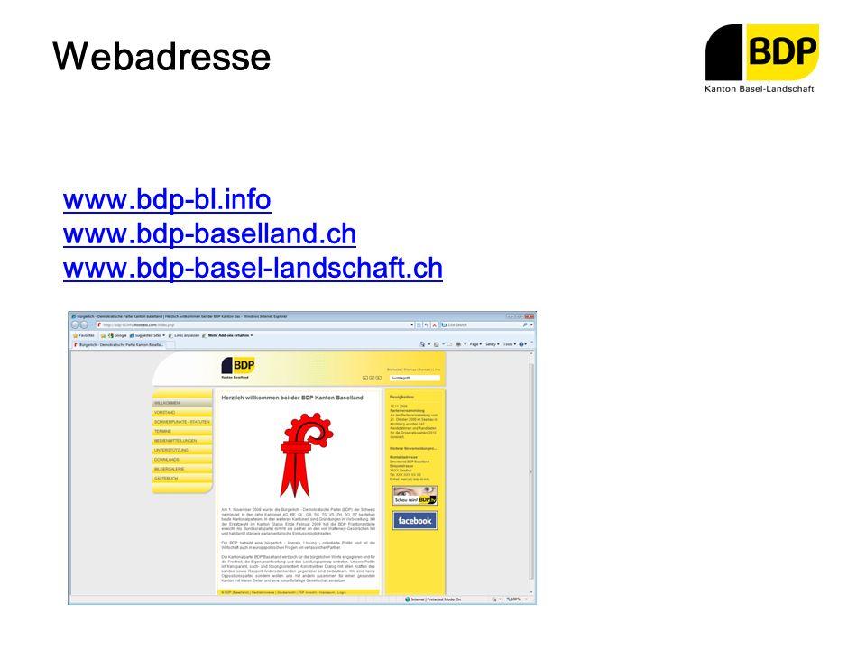 Webadresse www.bdp-bl.info www.bdp-baselland.ch www.bdp-basel-landschaft.ch