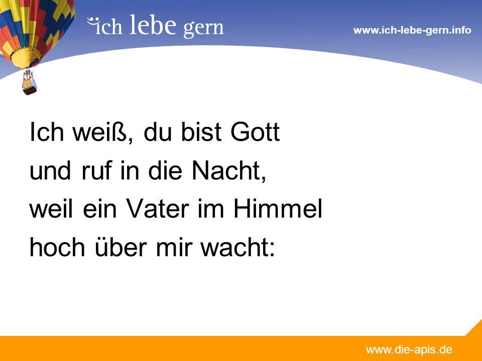 www.die-apis.de www.ich-lebe-gern.info Ich weiß, du bist Gott und ruf in die Nacht, weil ein Vater im Himmel hoch über mir wacht: