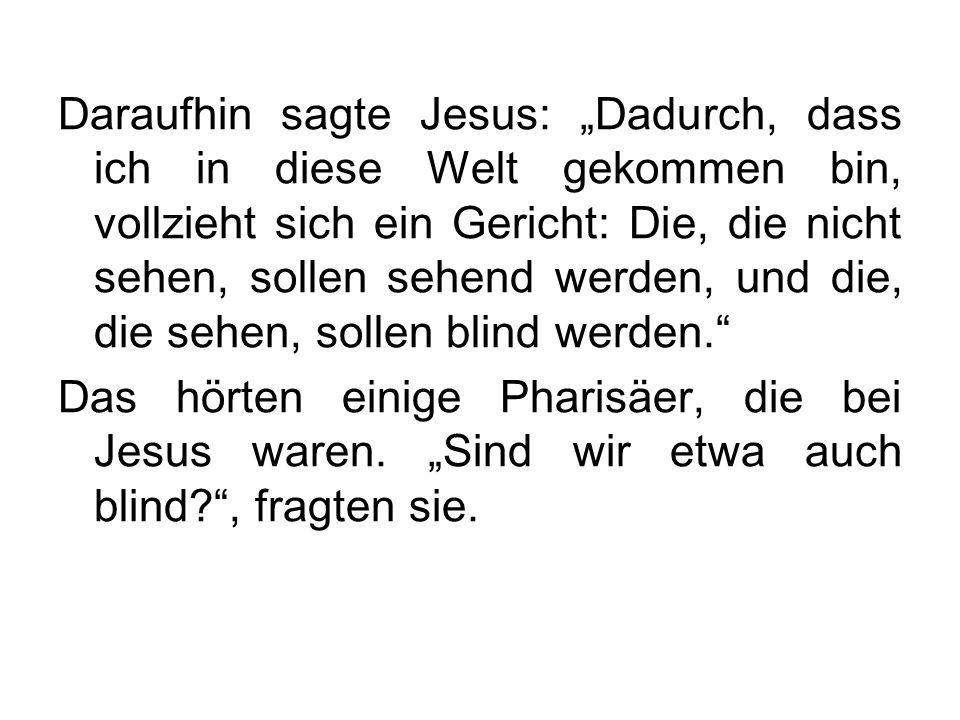 Daraufhin sagte Jesus: Dadurch, dass ich in diese Welt gekommen bin, vollzieht sich ein Gericht: Die, die nicht sehen, sollen sehend werden, und die,