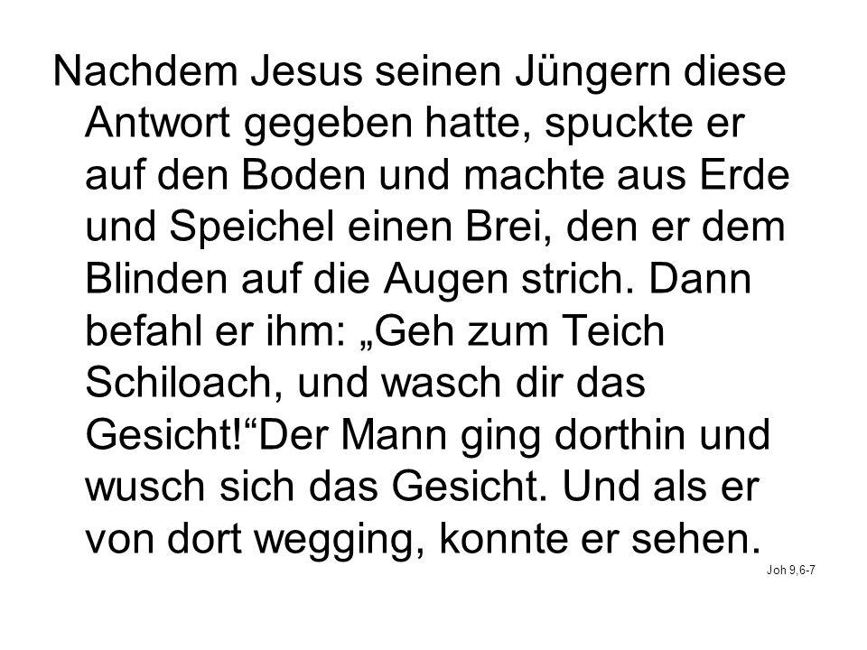 Nachdem Jesus seinen Jüngern diese Antwort gegeben hatte, spuckte er auf den Boden und machte aus Erde und Speichel einen Brei, den er dem Blinden auf