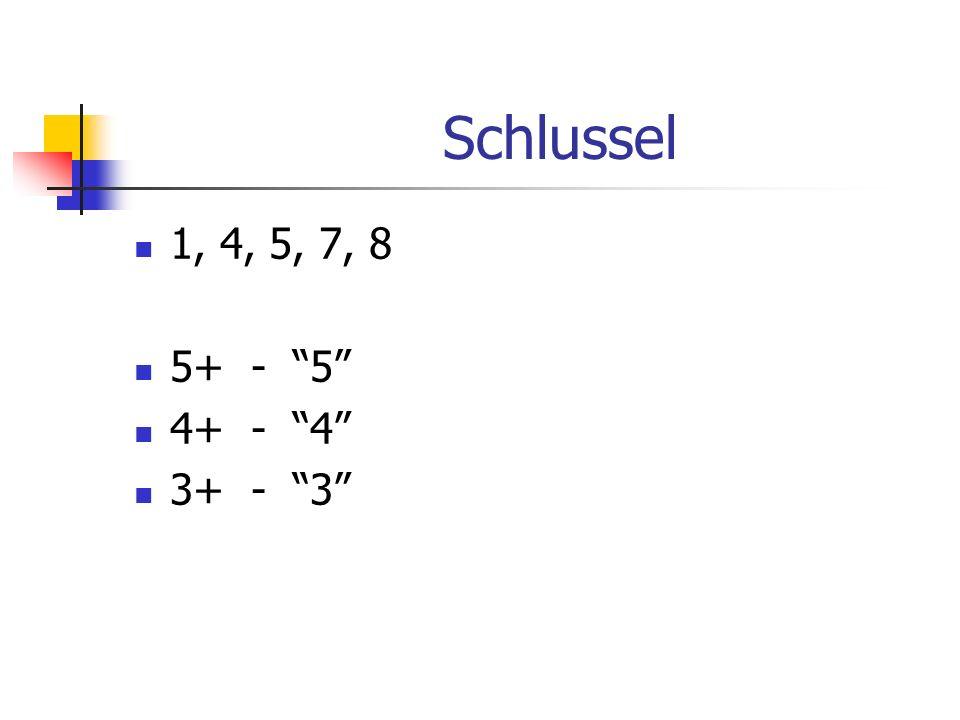 Schlussel 1, 4, 5, 7, 8 5+ - 5 4+ - 4 3+ - 3