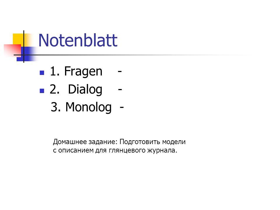 Notenblatt 1. Fragen - 2. Dialog - 3.
