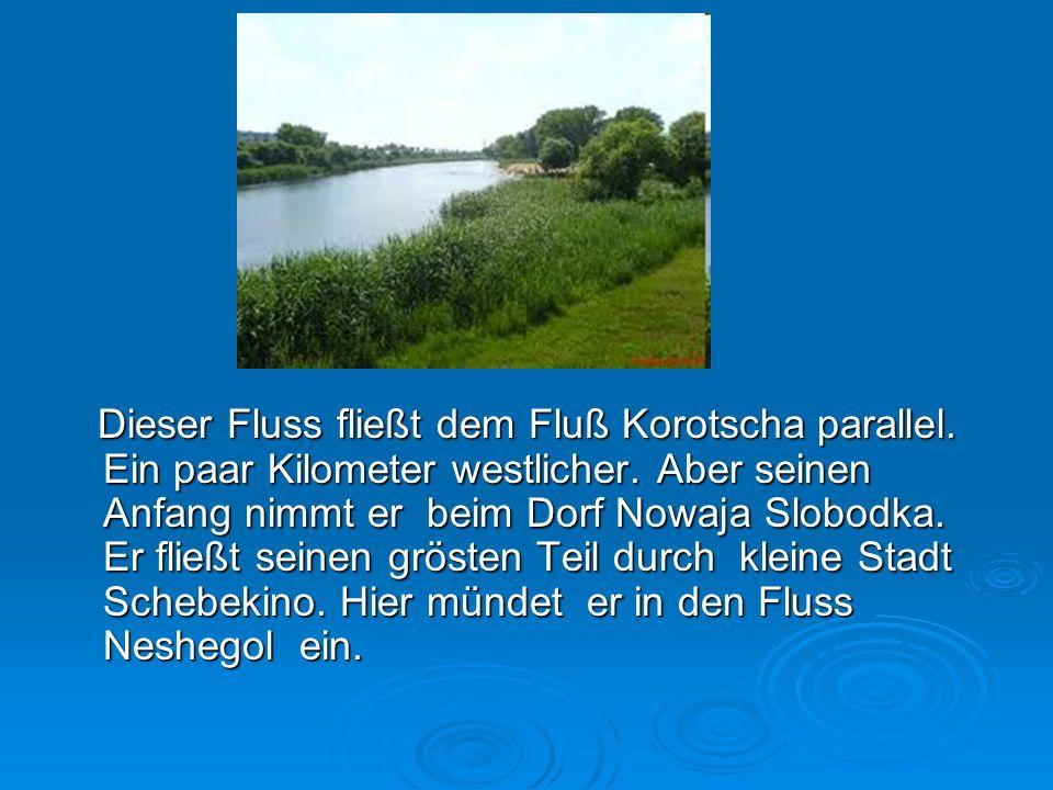 Dieser Fluss fließt dem Fluß Korotscha parallel.Ein paar Kilometer westlicher.